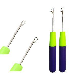 3 unids / lote plástico ganchillo trenzado aguja aguja mango púrpura para jumbo trenzado torse peluquero tejido Dreadlock Herramienta de extensiones de cabello