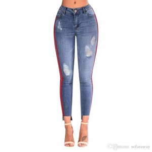Ripped Stretchy Hole Pencil Pants Women Denim High-Waist Jeans Side Stripe Ripped Hole Trousers Blue High waist jeans for women