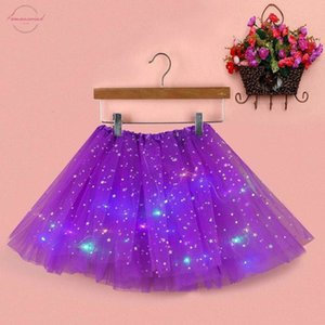Summer New Women Star Sequins Tulle Skirt Party Empire Mesh Pleated Princess Skirt With Led Small Bulb Skirt Mini Female Clothes