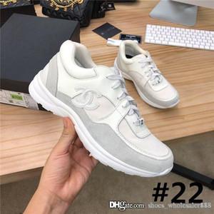 Las últimas zapatillas de deporte clásicas de ante de charol Zapatillas de deporte de diseñador para mujer, zapatos planos de mujer de tela de piel de becerro con plantilla colorida con caja