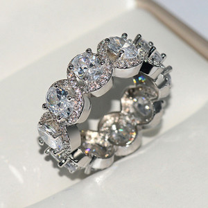 2020 di fascino di lusso ovale diamante artificiale Colore Bianco Anello Super Flash diamante di Zircon Gioielli Set una generazione di capelli