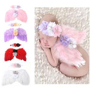 Neugeborenes Baby-Engels-Klagen für Mädchen-Perlen-Blumen Schmetterlings-Flügel-Klage-Kind-beiläufige neue Baby-Hundred Tag Fotografie mit Stirnband-06