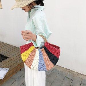Rainbow Color Straw Femmes Sac à main Grand sac sac à bandoulière en rotin Vintage Summer Beach Weave pour la paille principale femme sac