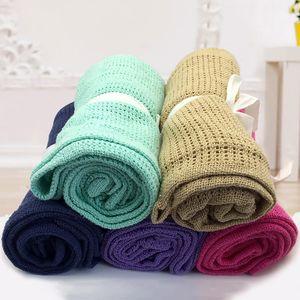 Baby Blankets Knitted Newborn Swaddle Blanket Fashion Solid Toddler Stroller Bedding Sofa Quilt 90*70cm Infant Kids Sleep Cover