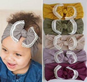 21 renk sınır ötesi Ins bebek saç aksesuarları süper yumuşak naylon yay dantel çocukların saç bandı saç bandı WY635