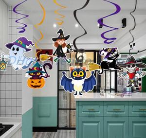 6pcs / set desenhos animados Halloween Decoração Pingente PVC espiral Pingente partido Haunted House Hanging Garland Pendant Pumpkins