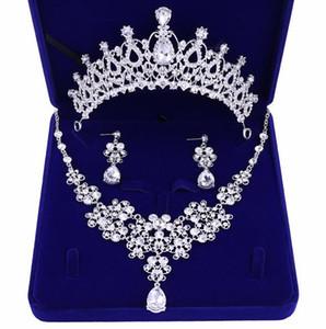 Best-seller high-end acessórios nupciais coroa colar brincos de três peças strass branco princesa coroa banquete headband frete grátis
