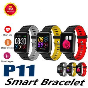 P11 Smart Band Bluetooth 1.3inch Écran Couleur Smart Watch IP68 Étanche Fréquence Cardiaque Pression Artérielle Podomètre Fitness Tracker