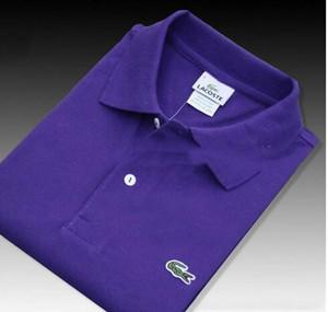 2201-4 Croco manches courtes pour hommes Polo Chemises Slim Fit Button été Camisas Polo Casual Hommes Marque Noir Blanc Rouge Violet Taille 6XL