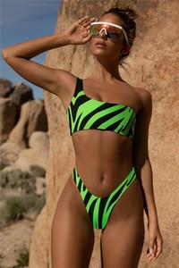 Femmes Designer Animal Rayé Bikinis Sexy Une Épaule Évider Maillots De Bain Mode Nature Couleur Plage Maillot De Bain Femmes De Natation Vêtements