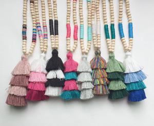 Bohemia suave arcilla Tablas de joyería de perlas Collares de Boho del verano Cuatro capas de algodón colgante de la borla de confeti y cuentas de collar largo de China Madera