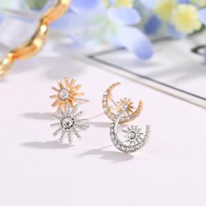 Boucles d'oreilles asymétriques Bijoux Moon Moon Earring Cadeaux de Noël Dormeuses en strass