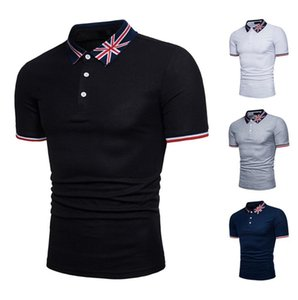 MS 2020 flag polo shirts Personality casual printing short-sleeved rice flag flag English word embroidery large size T-shirt Free Ship Q88