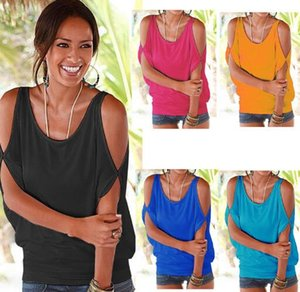 Lässige T-shirts Sommer Frauen Kurzarm Lose Candy Farbe Batwing Kurzarm Offene Kalte Schulter Top Mode