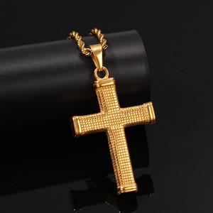 Hip Hop En Acier Inoxydable Or Couleur Croix Pendentif Collier Moderne Élégant Collier Religieux Jewely Pour Hommes Corde Cubaine Chaîne Collier