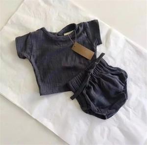 Gratuit DHL récent INS tout-petits garçons bébé girsl costumes en lin à manches courtes en coton bio T-shirts + Bloomers Ensembles Enfants Filles Costumes Vêtements 0-2T