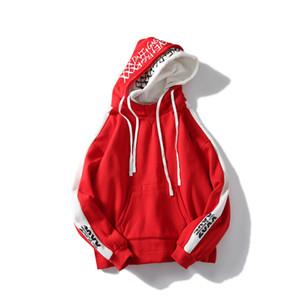 Homens hoodies retalhos chapéus duplas Harajuku letras de hip hop com capuz bordados sobredimensionar camisola mens hiphop desgaste da rua do hoodie