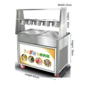 2020 ticari, ev, açık paslanmaz çelik thai tarzı kızarmış dondurma makinesi yoğurt dondurma rulo makinası