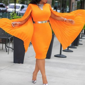 Orange Long Sleeve Evening Dinner Party Dress 2019 Autumn Fall Women Bodtcon High Waist Plus Size 3XL Female Pencil Midi Dress MX200518