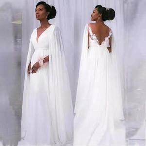 abito da sposa nastro chiffon squisito bianco puro puro gioiello del collo in pizzo Appliques Indietro una semplice linea nuovo disegno di gravidanza Abito da sposa