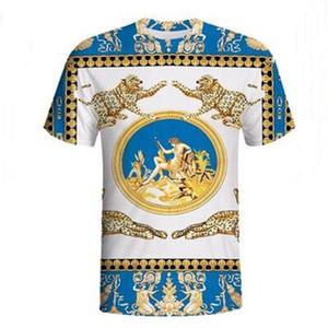 Hommes d'or d'impression de léopard TShirts US en Europe Rétro bande dessinée Noble Slim Casual manches courtes de haute qualité Marque du Club T-shirts Streetwear partie Hauts
