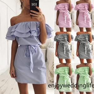 Mini Curto 4 cores listrado Casual Vestidos Off Ombros Partido Curto Verde Azul Rosa Preto Vestidos Cheap Women Dress for Praia FS5746