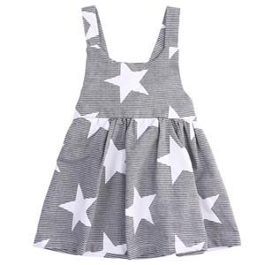 Hot Baby Girls Dress Fashion Party Pageant D'été Été Sans manches Étoiles Rayé Robe De Soleil Filles Vêtements Porter Des Vêtements Pour Enfants