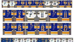 St. Louis Blues Vintage Jersey 11 Brian Sutter 2 Scott Stevens 12 Adam Oates 27 Sergio Momesso 15 Craig Janney 9 Doug Gilmour Hockey Retro