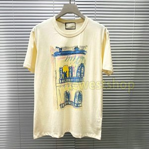 20SS Summer High-End Luxury Castle print Tee Simple T-Shirt High Street Short Sleeve t shirts Men Womens letter print Travel Tee Breathable