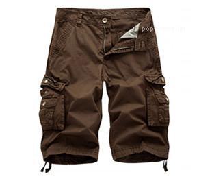 Pantalones para hombre de cargo ocasional de los deportes grandes de diseño Longitud bolsillos de los pantalones de la rodilla del nuevo verano