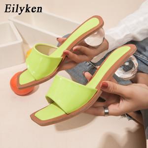 Talón Eilyken alta calidad transparente de plexiglás claro bola redonda cristalina del dedo del pie zapatos de las mujeres zapatillas de verano mulas Diapositivas Square