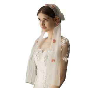 V631 rosa atractivo de la flor velo máscara de soltera católica capilla catedral de invierno de novia velos de novia de la bufanda del hijab