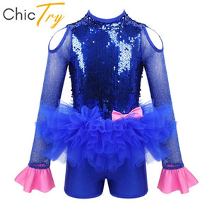 ChicTry Enfants Brillant Paillettes Tutu Ballet Robe Jumpsuit Gymnastique justaucorps pour les filles Performance Modern Jazz Lyrique Danse Costume