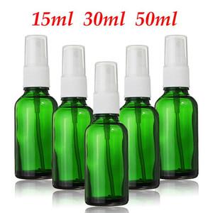 1PCS del vidrio verde botella del aerosol de perfume vacío 15ml 30ml 50ml botellas rellenables fina niebla atomizador Vial de aceite esencial cosmética