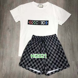 las mujeres alta gama camiseta de la muchacha ocasional carta traje bordado apliques jersey camiseta + pantalones cortos de bloqueo de impresión 2020 de la moda de diseño de lujo conjunto suelta