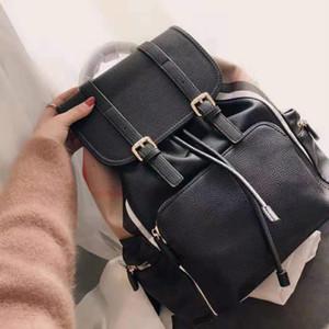 Designer Women Men Backpack Classic Large Capacity Travel Bag Neutral Black Strap Buckle Lace-up Backpack Brand Business Travel Bag  bjn