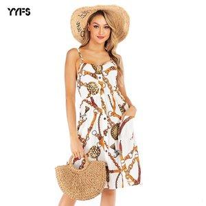 womens concepteur Grande jupe jarretelle floral sexy en mousseline de soie taille femme été mince impression salopette 8NA5 robe