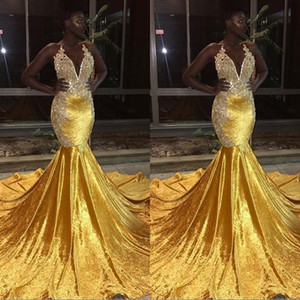 New Gold Mermaid Prom Dresses pour Black Girls Sheer Crew Neck Appliques Longue Fishtail Robes de Soirée Pas Cher Formelle robes festa