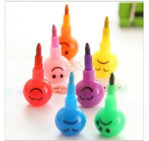 2020 Yeni Geliş Kırtasiye Renkli Suluboya Fırçası Smiley Karikatür Kalemler Kalem Marker Çocuk Sukabağı Oyuncak Hediye 7 Colors Kalem Gülümseme