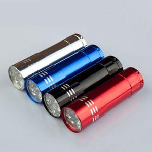 Portable 9 LED Lanterna UV Caminhando luz Torchlight Liga De Alumínio dinheiro detectando luz de luz UV LED ZZA328