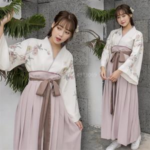 فتيات كاواي اليابانية كيمونو ديرس لطباعة أزهار النساء ... ... تنورة وردية أنيقة ... ... ريترو التقليدية أزياء حزب Cardigan Yukata