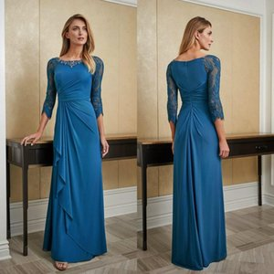 Teal Blue Mother of the Bride Dresses Wedding 34 Long Sleeves Evening Gowns Crystals Lace Beads Party Guest Dress