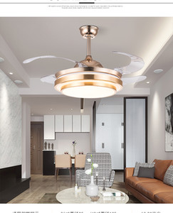 Ceiling fan light 110V 220V Invisible fan light Gold and silver 36 42inch remote control 110v220V Wall control ceiling light fan lamp