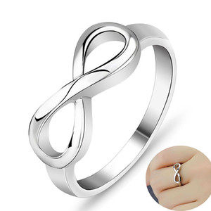silver plated Infinity love Ring Fine 8 Ring Women Men Gift Silver Jewelry Finger Rings wedding jewelry women rings dropship