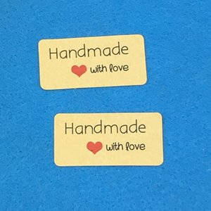 """Wholesale-200PCS 4*2cm Kraft Sticker Labels """"Hand made with love"""" stickers Paper Packaging Self-Adhesive Sealing Labels for Wedding gift"""