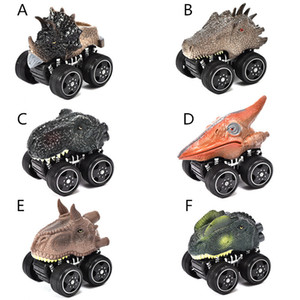 6 Styles Dinosaur Shaped pull-back vehicles 8x10cm kids pull back cartoon animal cars toys plastic wind up car model toys