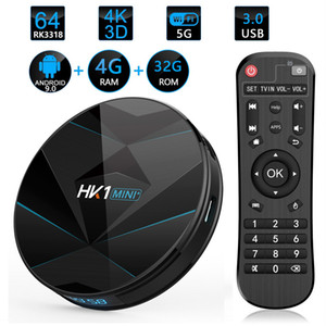 Hk1 mini-mais Android 9.0 TV Box 4GB 32GB RK3318 2.4G 5G WiFi dual 4K Bluetooth Set Top Box