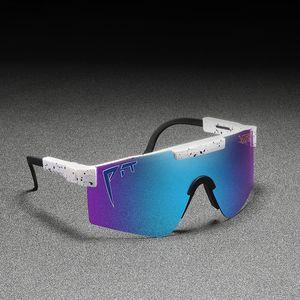 Pit Viper original Sport Google TR90 gafas de sol polarizadas para hombres / mujeres al aire libre a prueba de viento de gafas 100% UV lente de espejo