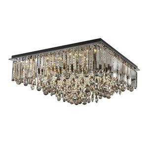 gömme avizeler montaj Yeni kısılabilir dikdörtgen kristal tavan avize aydınlatma Modern dumanlı gri villa salon yatak odası için ışıkları