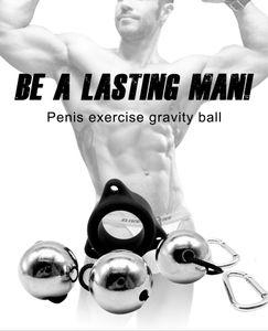 Silikon Bequeme Penis-Ring-Penis Übungsgerät Metallkugel Gewicht Hanger Penis Enlargement Pump Stretcher Extender Sex-Spielzeug